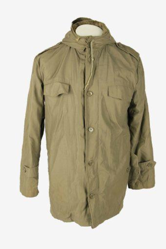 Military Army Parka Vintage Jacket Adjustable Fleece Lined Khaki Size M