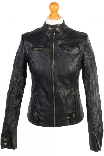New Womens Faux Pu Leather Biker Jacket Ladies Black
