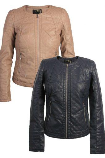 New Womens Faux Pu Leather Biker Jacket Ladies Size S, M, L, XL