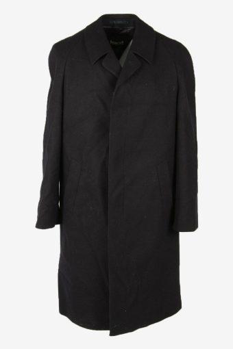 Overcoat Vintage Wool Coat Jacket Classic Warm Lined 90s Black Size XXL