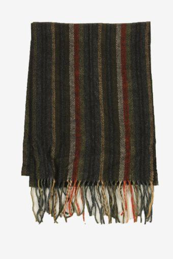 Striped Tartan Scarf Vintage Soft Tassel Plaid Warm 90s Retro Dark Grey