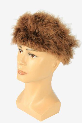 Suede Fur Winter Hat Vintage Cossack 80s Brown Size 58 cm