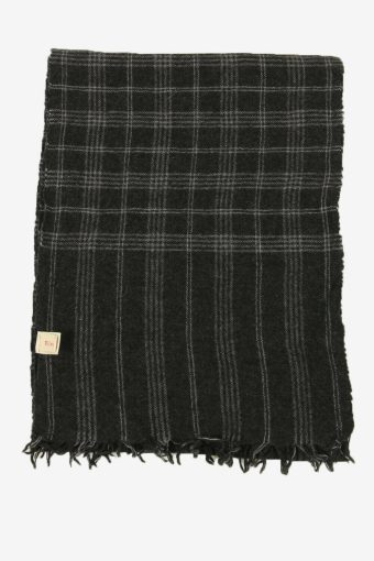 Tartan Scarf  Vintage Check Classic Tassel Winter 90s Retro Dark Grey