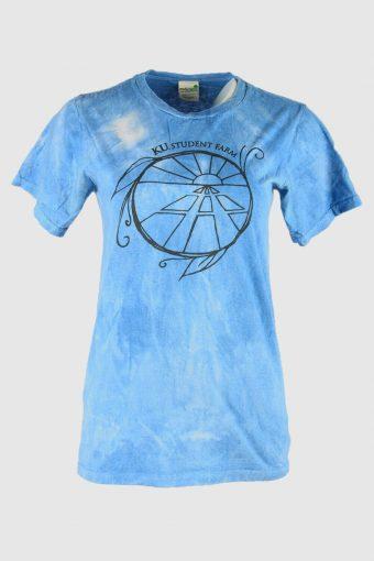 Tie Dye Organic Cotton T-Shirt   Music Festival Hipster Women Blue Size S