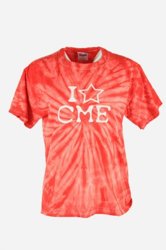 Tie Dye T-Shirt Top Tee Music Festival Retro Hipster 90s Women Red Size M