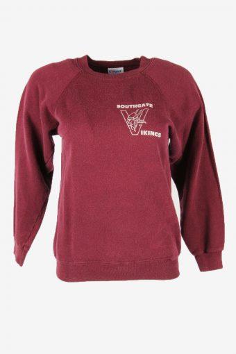 Vintage 90s Sweatshirt Printed Pullover Sports Retro Burgundy Size S