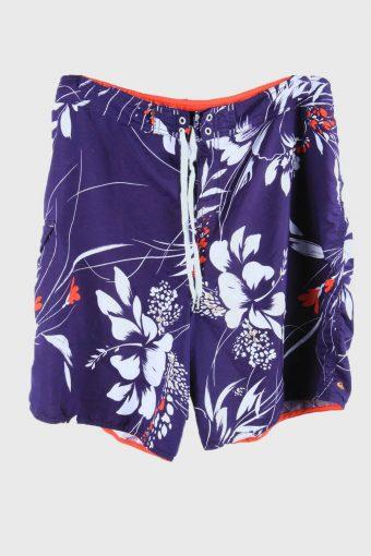 Vintage Beach Loud Bermuda Hawaiian Floral Shorts Purple Size XXL