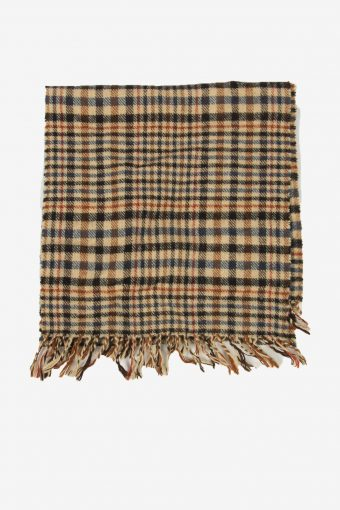 Vintage Check Tartan Scarf Winter Soft Warm Neck 90s Retro Beige – FL352
