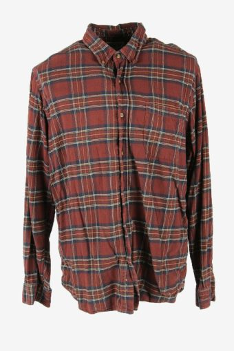 Vintage Flannel Shirt Check Long Sleeve Button 90s Cotton Burgundy Size L