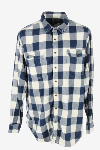 Vintage Flannel Shirt Check Long Sleeve Button 90s Cotton Multi Size XXL SH4222