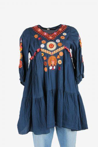 Vintage Floral Hippie Gypsy Women Dress Mini 90s Retro Navy Size S