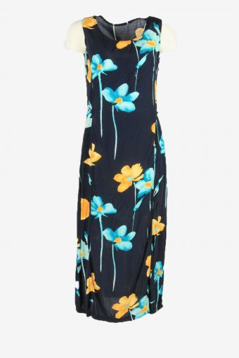Vintage Floral Midi Dress Sleeveless Square Neck 80s Retro Navy Size XL