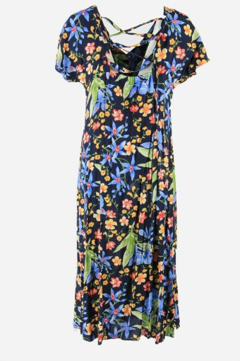 Vintage Flowers Print Short Sleeve Dress 90s Midi Button Up Multi Size M