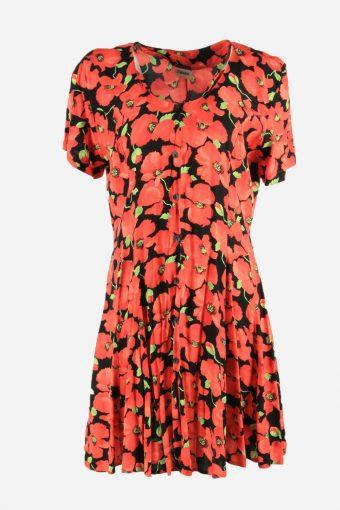 Vintage Flowers Print Short Sleeve Dress Fit & Flare Women Multi Size L
