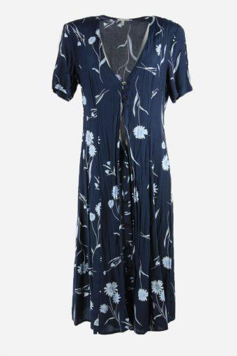 Vintage Flowers Print Sleeveless Dress Maxi V Neck Neck 80s Navy Size XL DR075