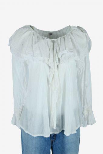 Vintage Plain Blouse Boho Indian Tunic Top Kaftan Smock White Size S