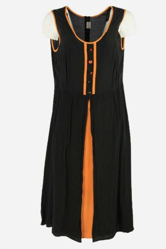 Vintage Plain Dress Sleeveless Dress Zip 70s Midi Women Black Size XL