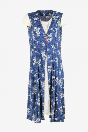 Vintage Retro 90s Floral Midi Dress Sleeveless V Neck Blue Size L