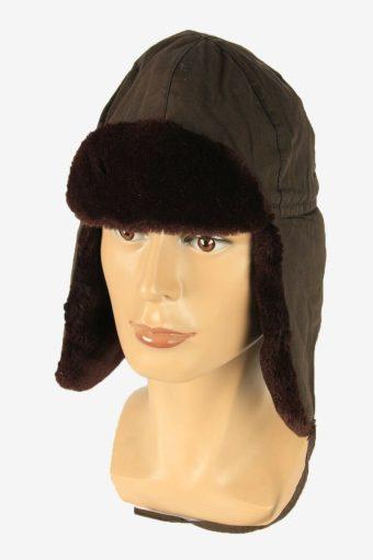 Vintage Russian Style Fur Hat Earflaps Winter Warm Brown Size 54 cm