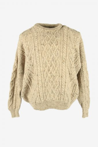 Vintage Wool Jumper Cable Knit Crew Neck Pullover 90s Beige Size XXL