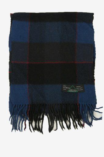 Wool Tartan Scarf  Vintage Check Classic Tassel Winter 90s Retro Navy