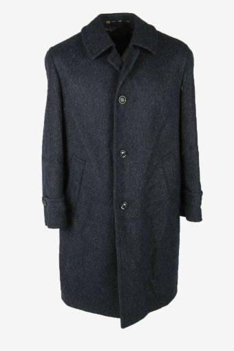 Wool Vintage Coat Jacket Casual Winter Warm Blend Lined Navy Size L