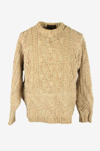 Cable Knit Jumper Aran Vintage Crew Neck Pullover 90s Beige Size S