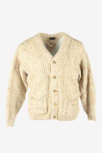 Cable Knit Wool Cardigan Pocket Vintage V Neck Button 90s Beige Size M