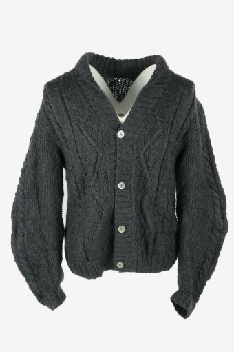 Cable Knit Wool Cardigan Vintage V Neck Button Pullover Dark Grey Size M