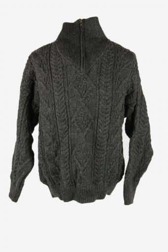 Cable Knit Wool Jumper Vintage Turtle Neck Zip Pullover Dark Grey Size L