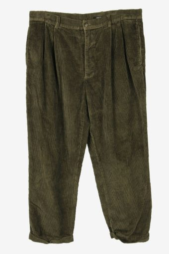 Corduroy Cord Trousers Vintage Oversize Comford Smart Khaki Size W36 L30