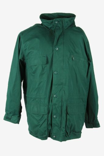 Eddie Bauwer Outdoor Jacket Blanked Lined Hooded Pockets Green Size L