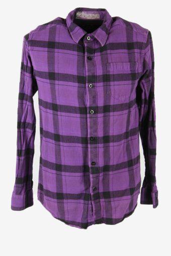 Flannel Shirt Vintage Striped Long Sleeve Button 90s Cotton Purple Size M SH4255