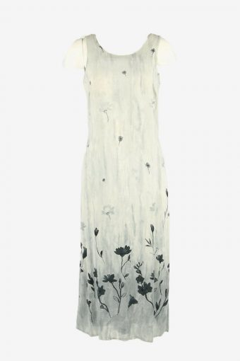 Flowers Vintage Maxi Dress Sleeveless Scoop Neck  90s  Grey Size M