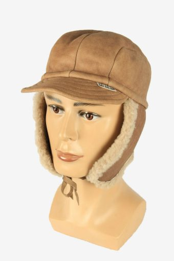 Fur Suede Cap Hat Vintage Earflaps Ski Cossack 90s Beige Size 56 cm