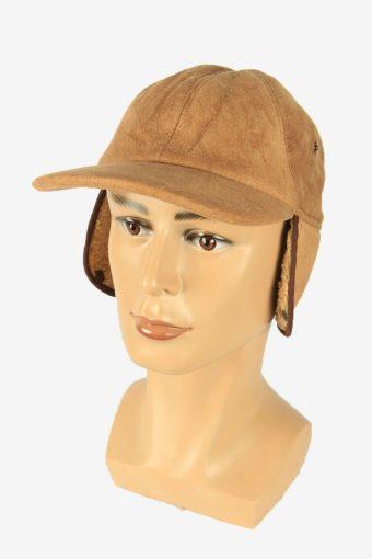 Fur Suede Cap Hat Vintage Earflaps Ski Cossack 90s Camel Size 56 cm