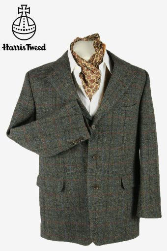 Harris Tweed Vintage Blazer Jacket Windowpane Elbowpatch Grey Size L