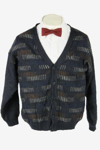 Knit Cardigan Vintage V Neck Sweater Chunky Button Up 90s Blue Size L
