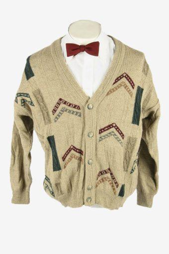 Knit Cardigan Vintage V Neck Sweater Soft Button Up 90s Beige Size L