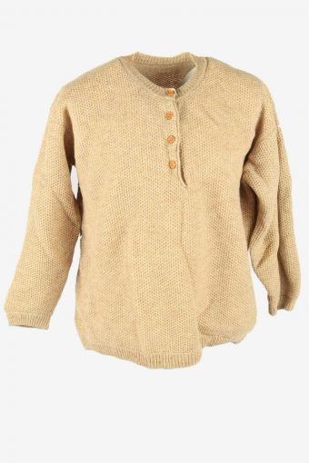 Knit Wool Jumper Vintage Crew Neck Elbowpatch Button Beige Size XL
