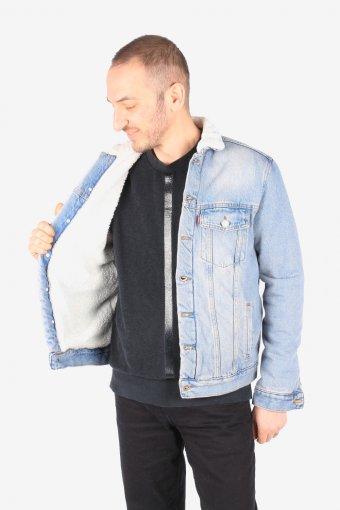 Mens Levis Denim Fur Lined Sherpa Jacket Trucker Size S, M, L, XL
