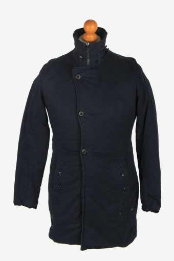 Mens G-Star Raw Puffer Jacket Overcoat Vintage Padded Navy Blue Size S