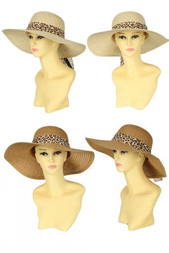 New Womens Straw Effect Floppy Summer Beach Hat Wide Brim Sun Cap Size 38