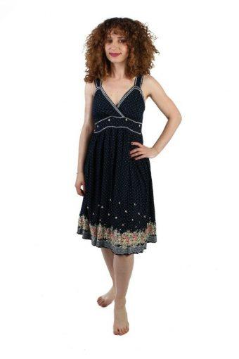 OPL Fashion Midi Dress in Polka Vintage Elastic Waist Black Size L