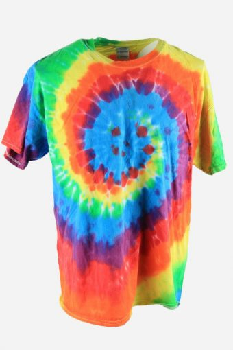 Rainbow Tie Dye T-Shirt Retro 90s Music Festival Men Multi Size XL