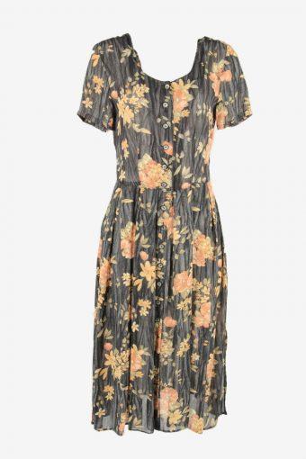 Short Sleeve Floral Fit Flare Dress Vintage Square Neck Multi Size M