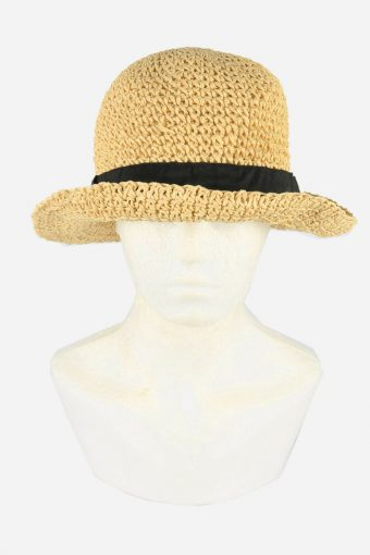 Straw Style Hat Brimmed Summer Bowknot 90s Retro Beige Size 58 cm