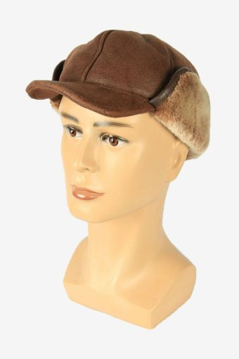 Suede Fur Winter Hat Ushanka Vintage Earflaps 80s Brown Size 58 cm