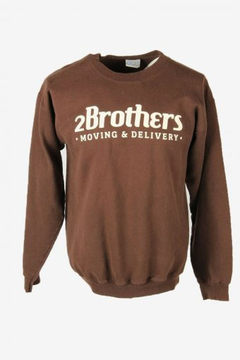 Vintage 90s Sweatshirt Printed Pullover Sports Retro Brown Size M