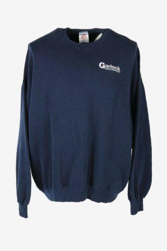 Vintage 90s Sweatshirt Printed Pullover Sports Retro Navy Size XXXL